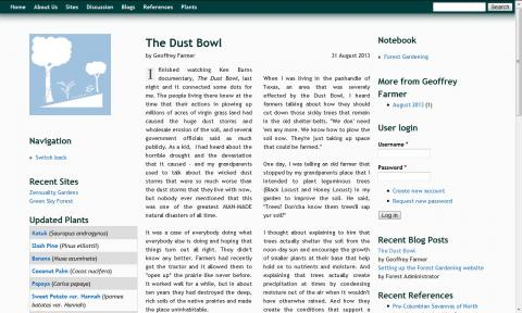 A screen shot of the multi-user blog website.