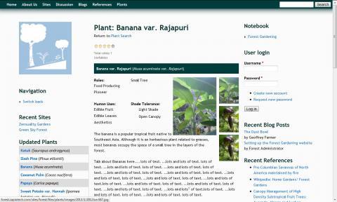 A screen shot of an online database website.